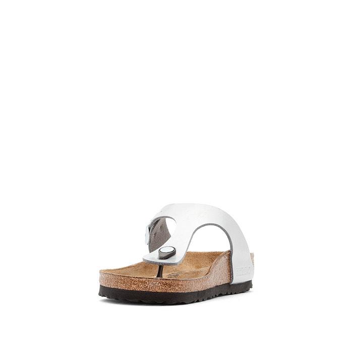 Gizeh metallic faux leather flip flops charcoal grey
