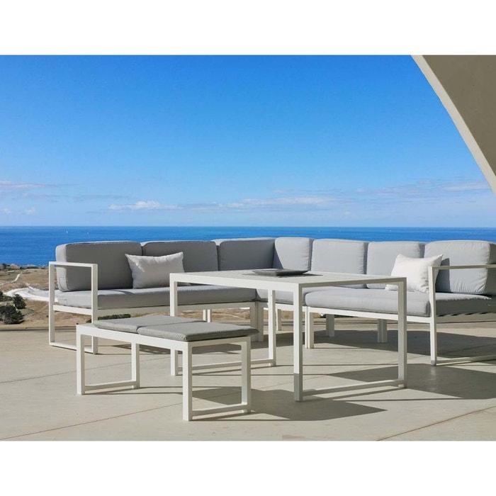 Salon de jardin en aluminium canapé d\'angle Anaele