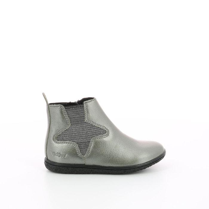 Boots cuir vermillon Kickers   La Redoute