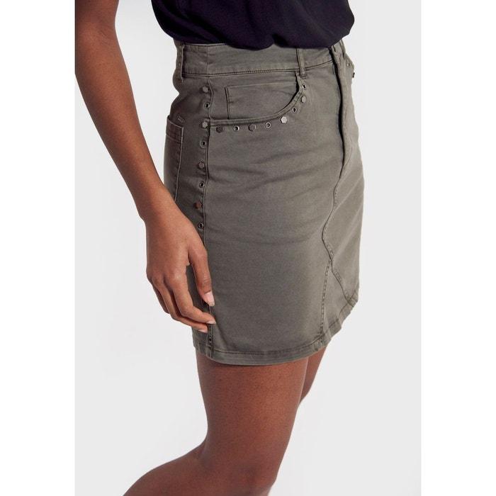 Mini jupe kaki en jean en 100% coton, coupe droite ajow vert