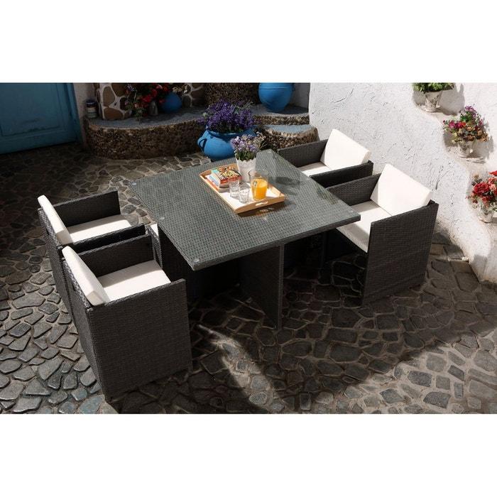 Salon de jardin résine tressée 4 places, miami 4 gris ...