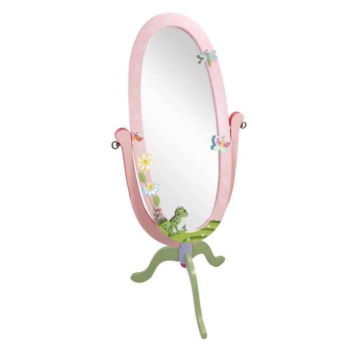 Miroir sur pied enfant en bois magic garden rose Fantasy ...