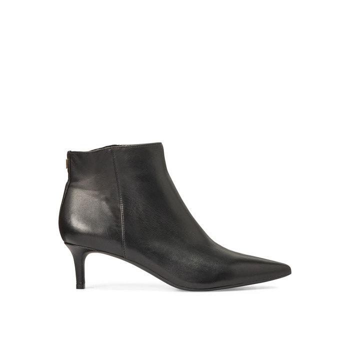 à Lauren Ralph aiguille petit noir Boots cuir talon en cF1JlK