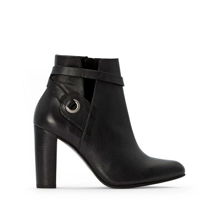 Boots cuir zippées à talon noir La Redoute Collections   La