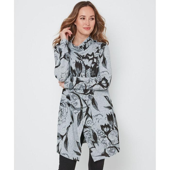 magasin meilleurs vendeurs profiter de gros rabais super pas cher se compare à Tunique portefeuille à imprimé floral abstrait gris Joe ...