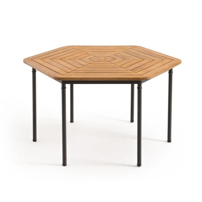 Table de jardin hexagonale acacia fsc, kajlaw acacia La ...