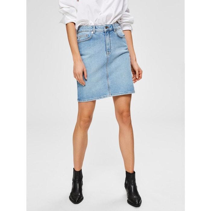 Jupe en jean taille mi haute bleu light blue denim