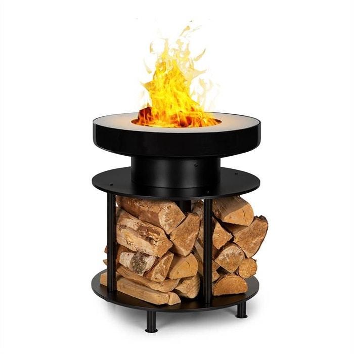 Kit Complet Brasero Barbecue 100cm avec Base Range Bûches en