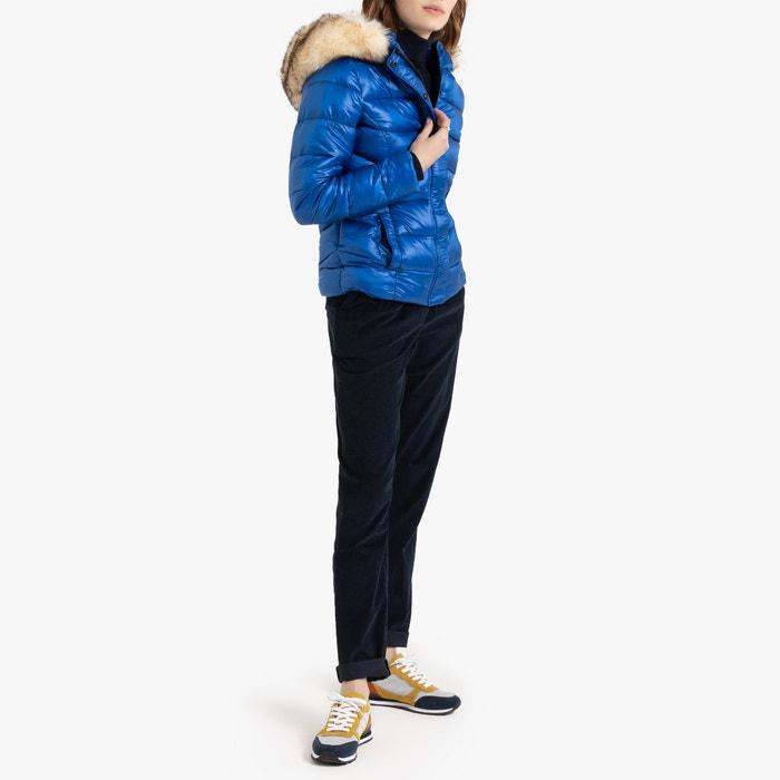 Doudoune courte, capuche imitation fourrure Kaporal bleu