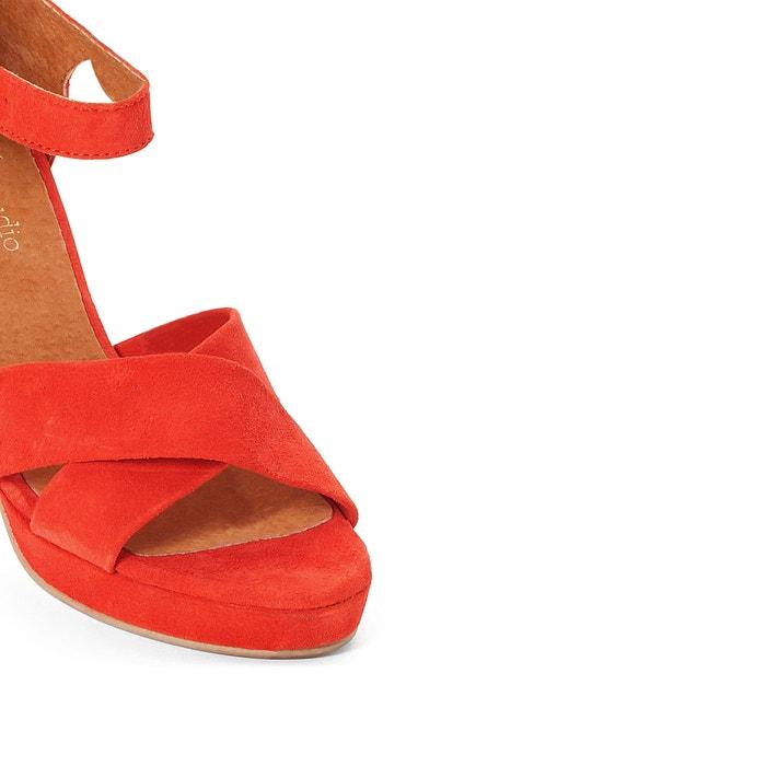 Sandales cuir brides croisées brique La Redoute Collections