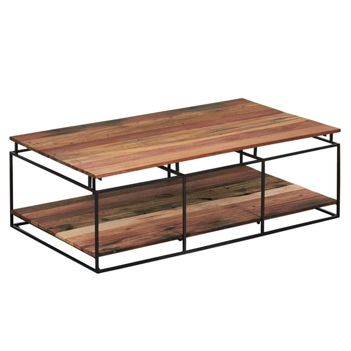 Table Basse Carree Industrielle Bois Recycle Et Metal Double
