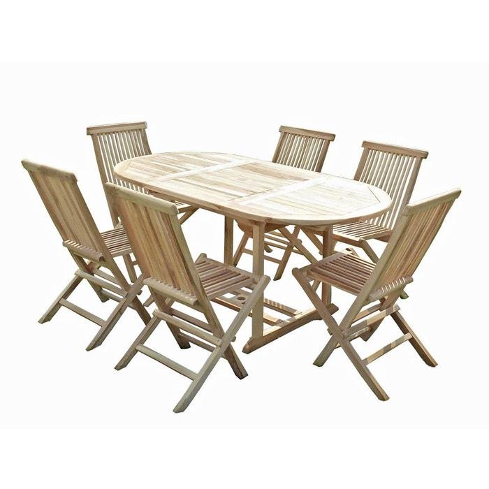 Ensemble salon de jardin en teck solo 6 chaises naturel C Et ...