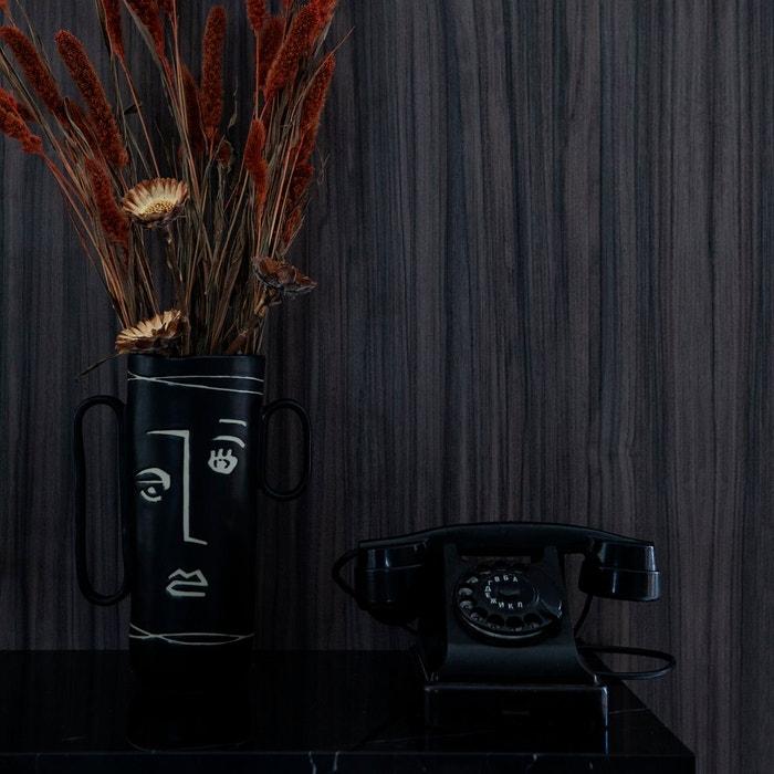 Vase en grès noir avec visage