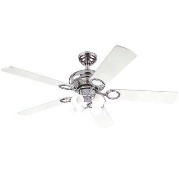 Ventilateur de Plafond Helix Fusion 132cm Chrome Noir Blanc 7875340