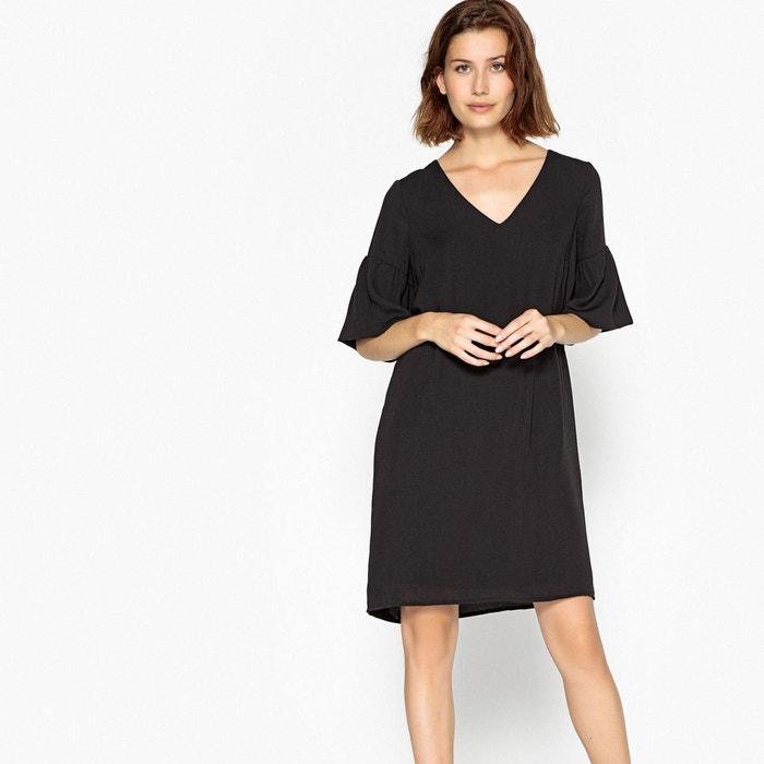 Robe col v avec volants, manches courtes noir Vero Moda | La