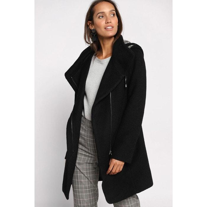 Manteau cintré asymétrique gris clair femme | Cache Cache
