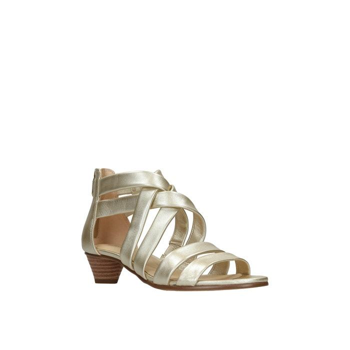 Mena silk leather sandals , gold