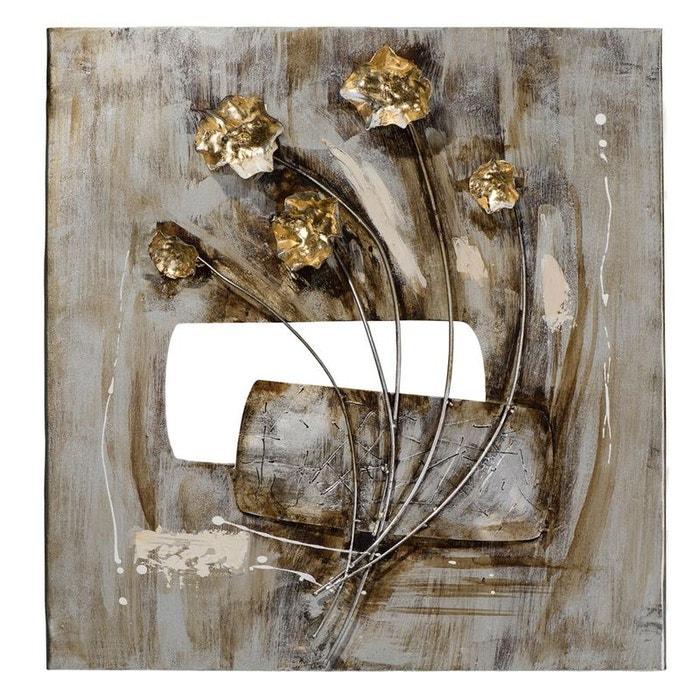 Tableau Fleurs Peinture Acrylique Sur Métal Et éléments En Relief Tons Blancs Beiges Dorés Et Argentés 58x60cm