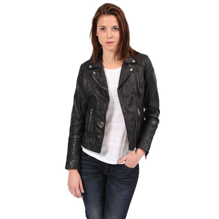 Veste en cuir col tailleur noir Kaporal | La Redoute