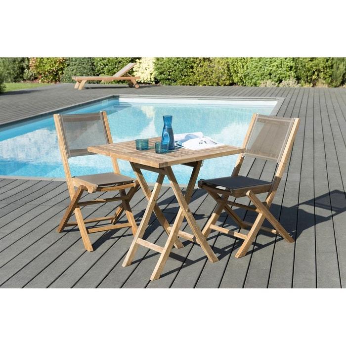 Salon de jardin bois de teck table de jardin pliante carrée 70x70cm + 2  chaises pliantes textilène SUMMER