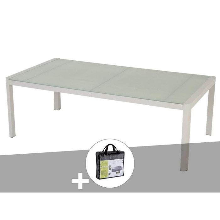 Table de jardin rectangulaire Absolu 10 places Taupe avec housse de  protection
