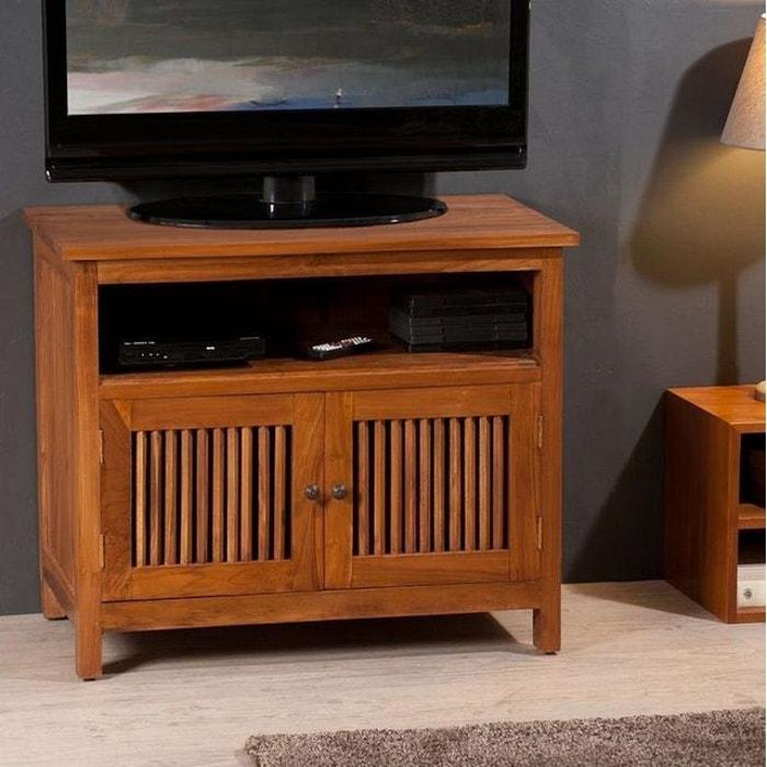 acheter en ligne e40dc a5515 Meuble TV 80cm bois de teck 2 portes 1 niche style colonial BISHO