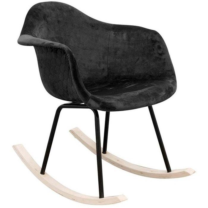 Fauteuil à bascule assise en velours noir noir The Concept