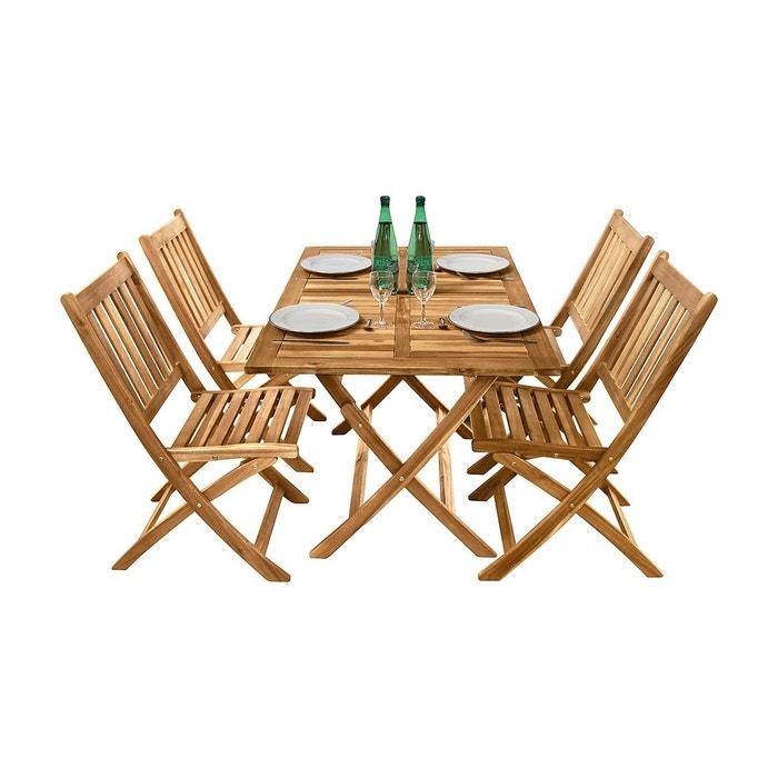 Salon de jardin en acacia 4 chaises et 1 table rectangulaire ...