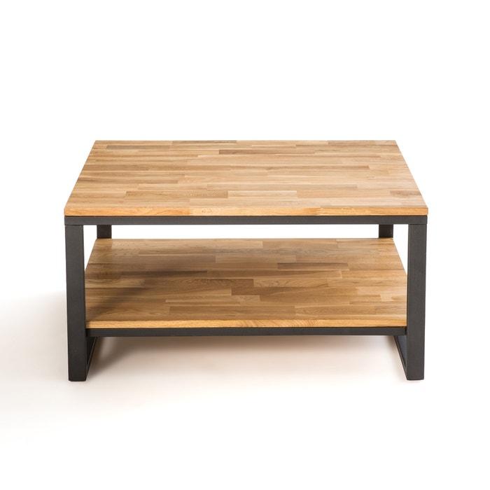 Hiba Square Coffee Table In Oak Steel Natural La Redoute Interieurs La Redoute
