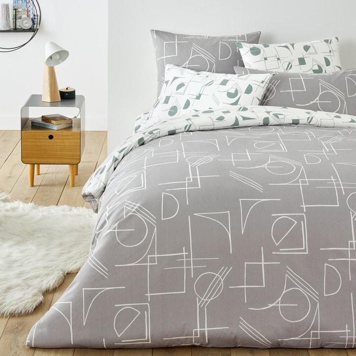 Ino Duvet Cover In Geometric Print Cotton Printed Grey White La