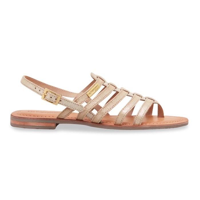 mode de luxe 100% de qualité supérieure détaillant Sandales cuir entre-doigts hariette beige-or Les ...