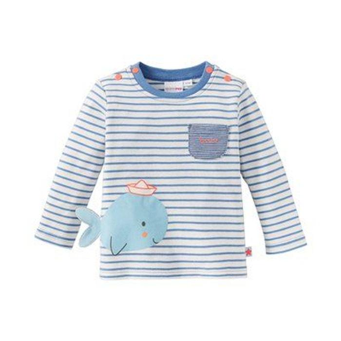 Bornino T-shirt /à manches longues baleine top b/éb/é v/êtements b/éb/é /écru//bleu