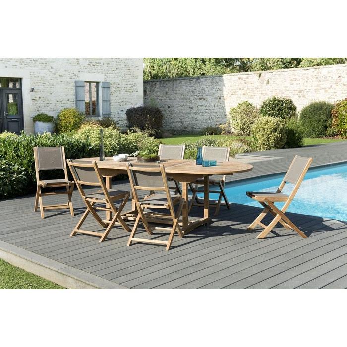 Salon de jardin bois de teck table de jardin extensible ovale 180/240x100cm  + 6 chaises pliantes textilène SUMMER