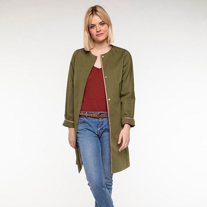 Manteau été paprika femme sans col en coton et lin Trench