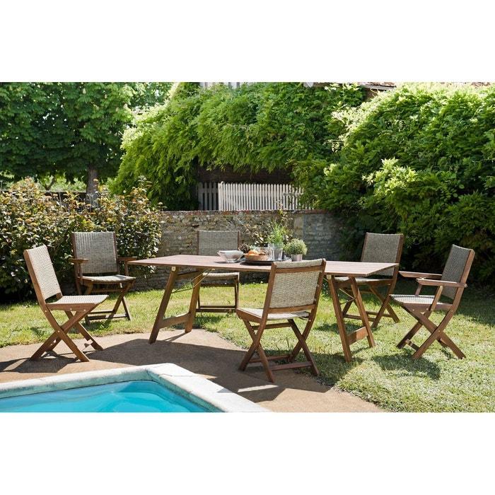 Salon de jardin bois acacia table de jardin pliante 220x90cm + 6 chaises et  fauteuils pliants rotin synthétique SUMMER