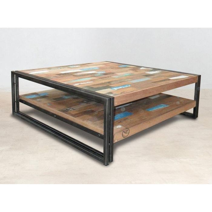 Table Basse Industrielle Carree 100cm Double Plateau Bois Recycle Et Metal Caravelle