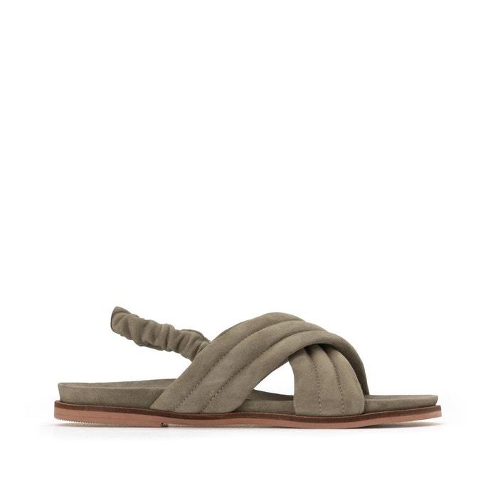 Sandales en cuir brides croisées talon plat La Redoute