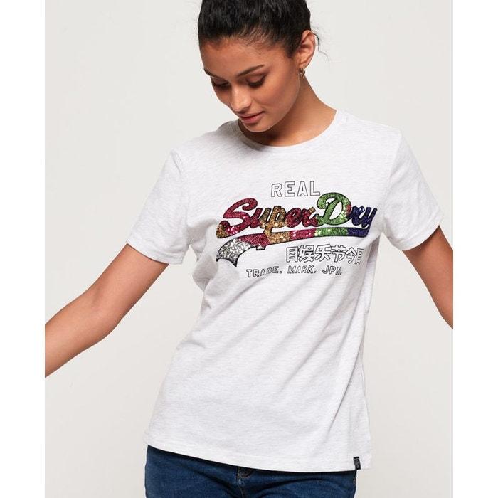 T Shirt femme Superdry Vintage Logo Sequin Tee bleu