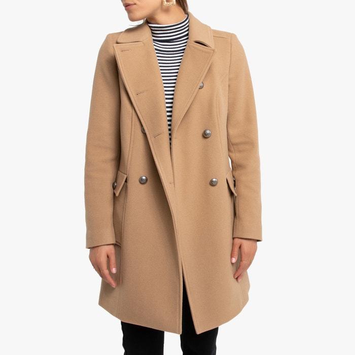 Rechte halflange jas met knoopsluiting camel Naf Naf | La