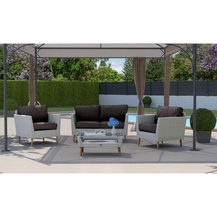 Salon de jardin glasgow en résine gris clair Rotin Design ...