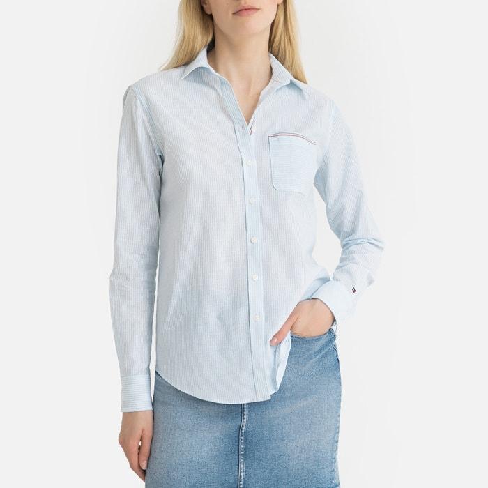 Chemise rayée manches longues bleu blanc Tommy Hilfiger   La