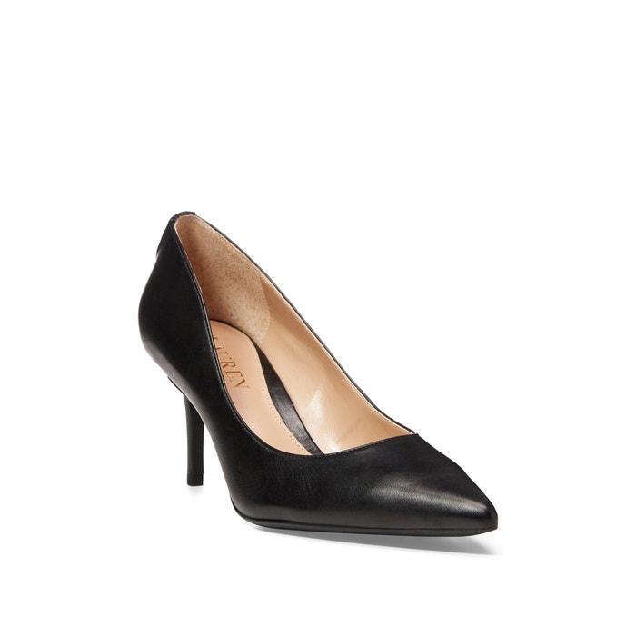 Leather stiletto heels , black, Lauren