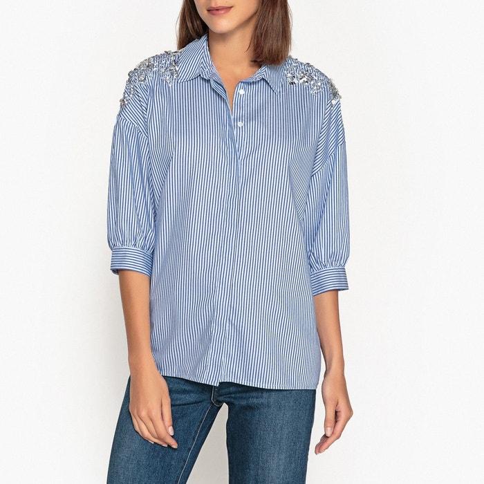 Chemise rayée perles et sequins retals bleu blanc Essentiel
