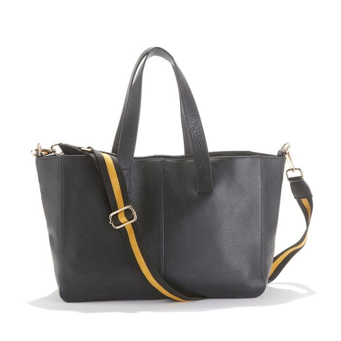 Grand sac cabas en cuir, avec bandoulière noir La Redoute