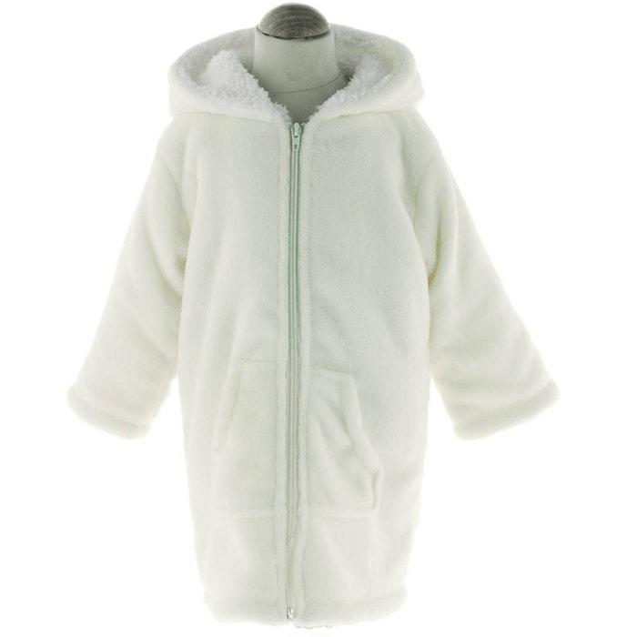 Peignoir Robe De Chambre Enfant Polaire Zipper Blanc Cassé