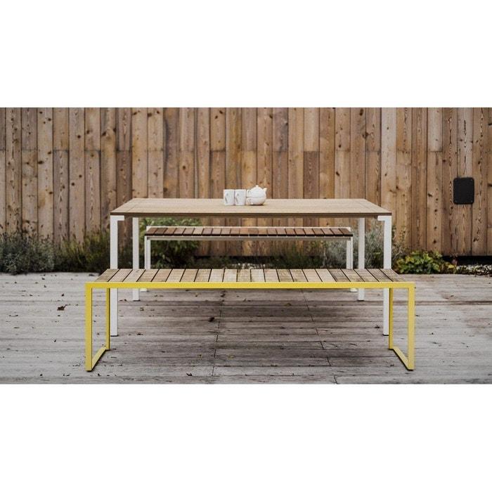 Table de jardin rectangle BISTROT en Acacia huilé et acier blanc EGOE
