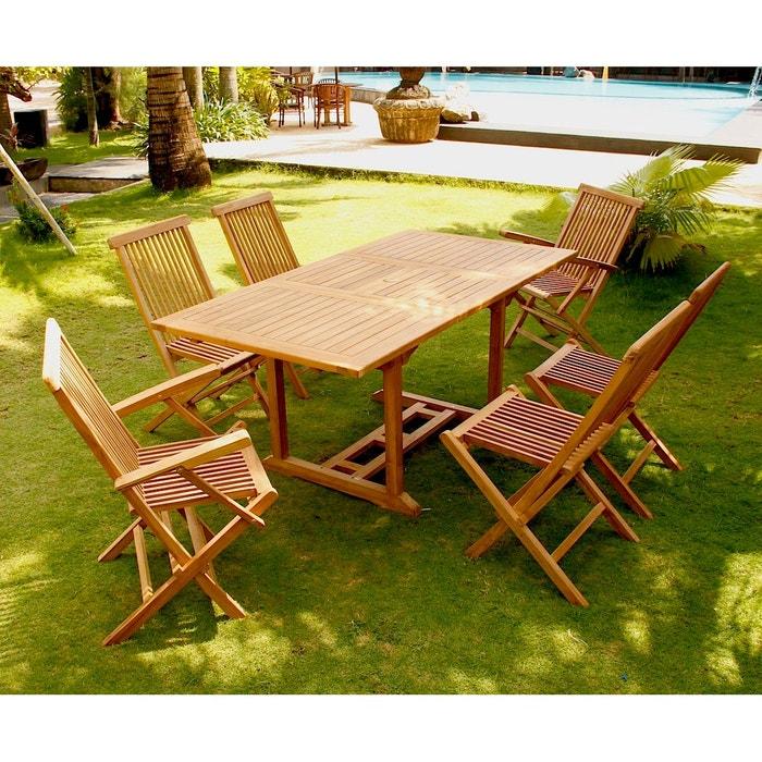 Kajang : salon de jardin teck massif 6 personnes - table ...