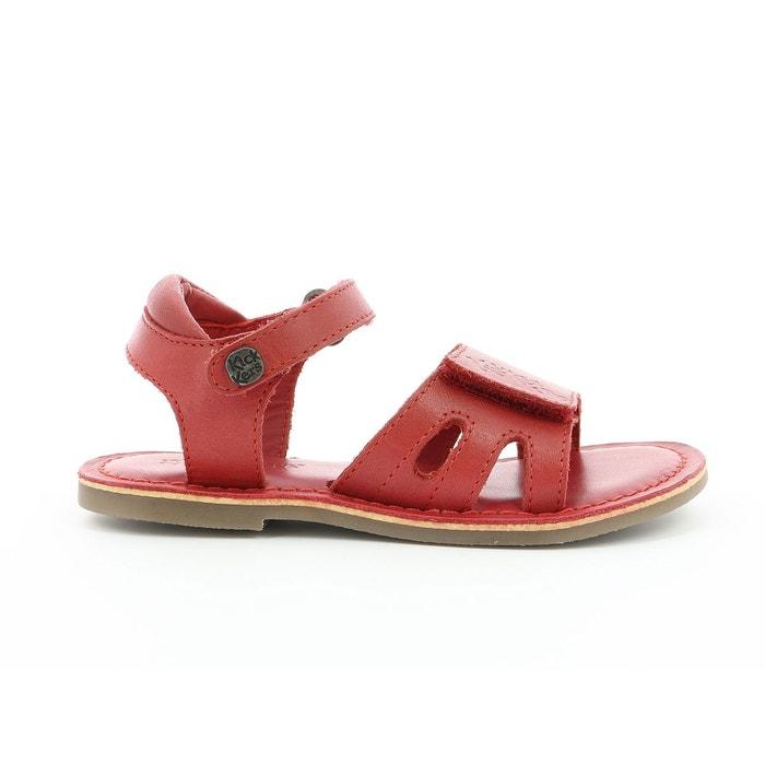 Sandales cuir dimoi rouge Kickers   La Redoute