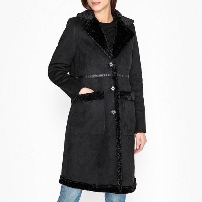 nouvelle arrivee f12b3 ee419 Manteau long imitation peau retournée portobello noir ...