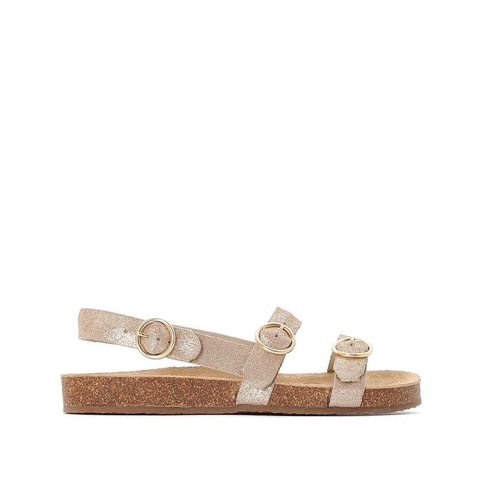 Sandales plates en cuir doré Balzac Paris X La Redoute